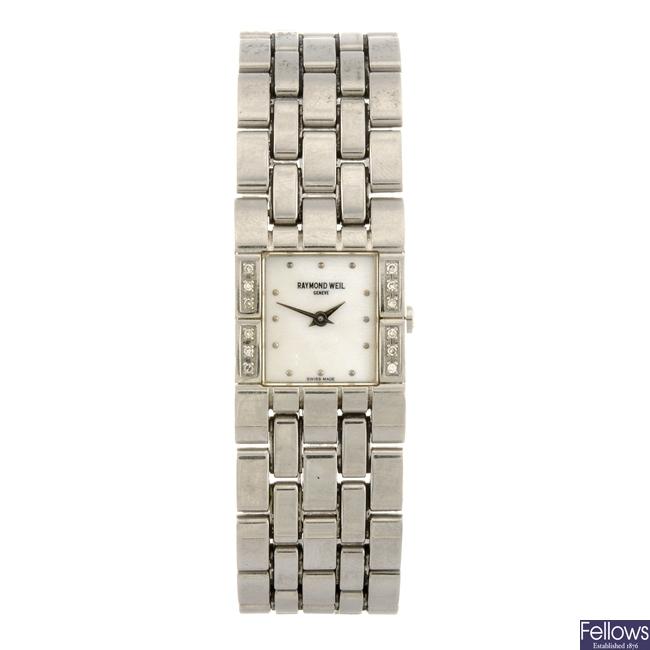 (47019) A stainless steel diamond set quartz lady's Raymond Weil bracelet watch.