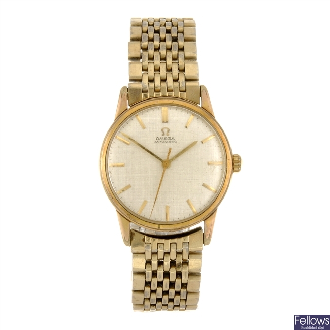 A gold plated automatic gentleman's Omega bracelet watch.