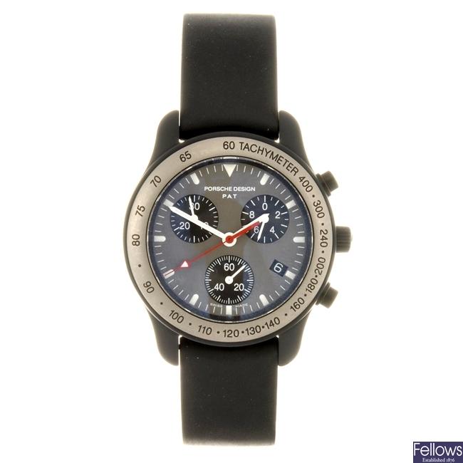 A bi-metal quartz chronograph Porsche Design wrist watch.