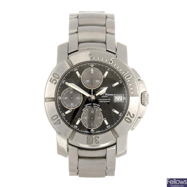 A stainless steel automatic chronograph gentleman's Baume & Mercier Capeland bracelet watch.
