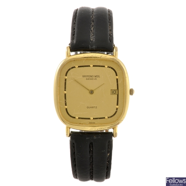 A gold plated quartz gentleman's Raymond Weil wrist watch.
