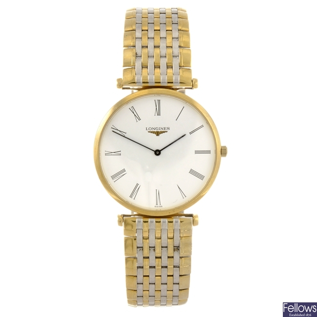 A bi-colour quartz gentleman's Longines La Grande Classique bracelet watch.