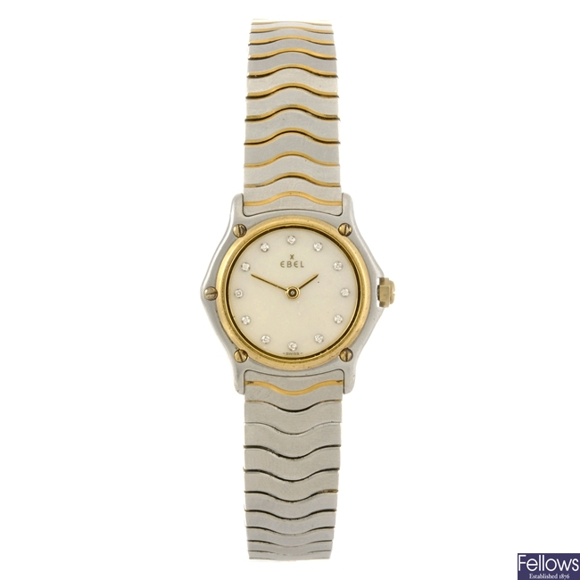 A bi-metal quartz lady's Ebel Classic Wave bracelet watch.