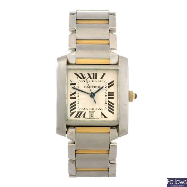 (91808) A bi-metal automatic Cartier Tank Francaise bracelet watch.