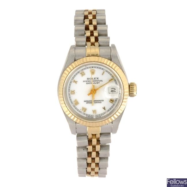 A bi-metal automatic lady's Rolex Datejust bracelet watch.