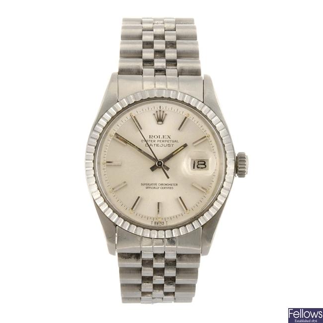 A stainless steel automatic gentleman's Rolex Datejust bracelet watch.