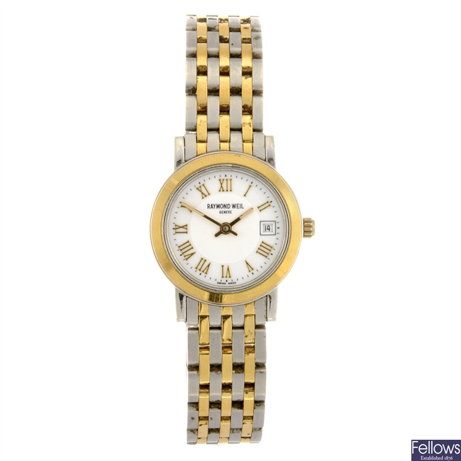 A bi-colour quartz lady's Raymond Weil bracelet watch.