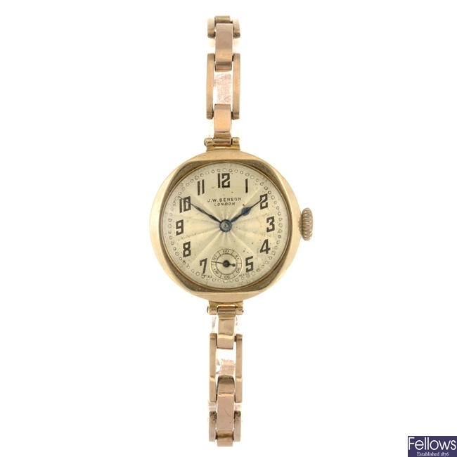 (207305351) A 9ct gold manual wind lady's J W Benson bracelet watch.