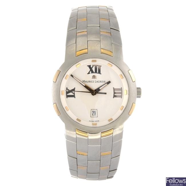(108108025) A bi-metal quartz gentleman's Maurice Lacroix Milestone bracelet watch.