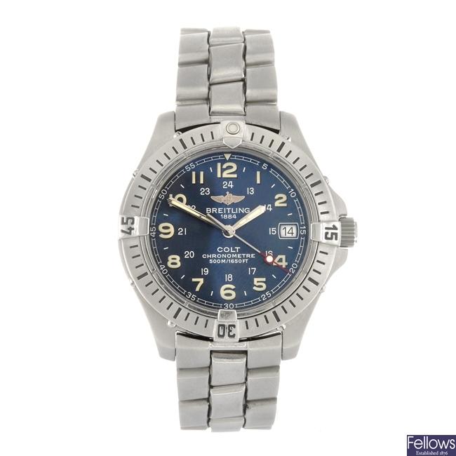 (948000890) A stainless steel quartz gentleman's Breitling Colt SQ bracelet watch.