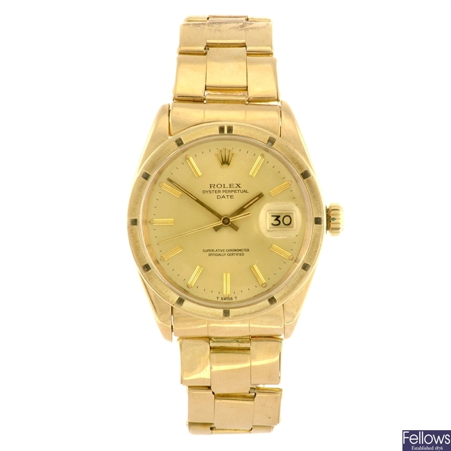 (965001298) An 18k gold automatic gentleman's Rolex Date bracelet watch with lady's Datejust watch.