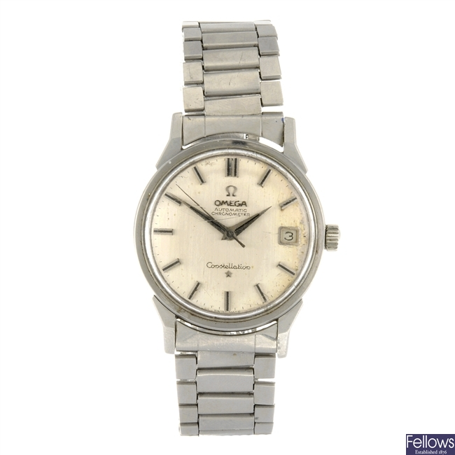 A stainless steel automatic gentleman's Omega Constellation bracelet watch.