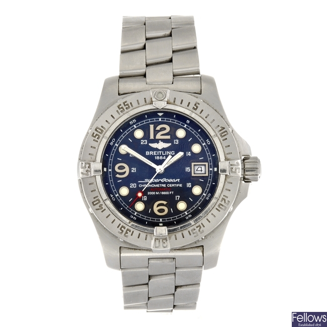 (6111) A stainless steel automatic gentleman's Breitling Superocean Steelfish X-Plus bracelet watch.