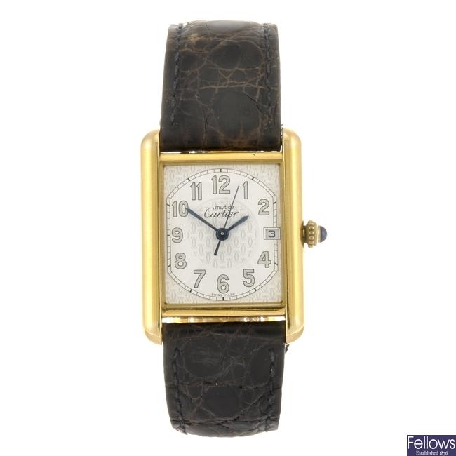 (6711) A gold plated silver quartz Cartier Must de Cartier wrist watch.