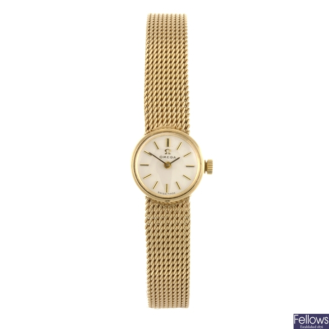 (3807) A 9ct gold manual wind lady's Omega bracelet watch.