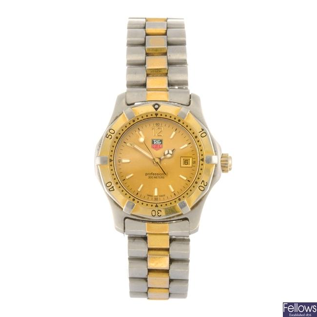 (704009621) A bi-colour quartz lady's Tag Heuer 2000 Series bracelet watch.