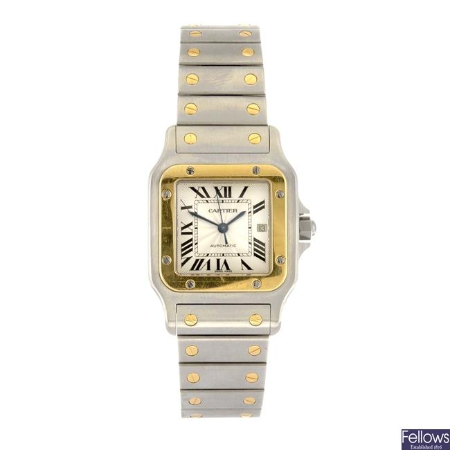 (811006394) A bi-metal automatic Cartier Santos bracelet watch.