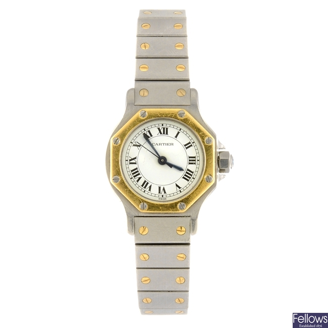 (205153541) A bi-metal automatic Cartier Santos bracelet watch.