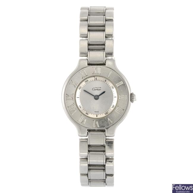 (809032758) A stainless steel quartz Cartier Must De Cartier 21 bracelet watch.