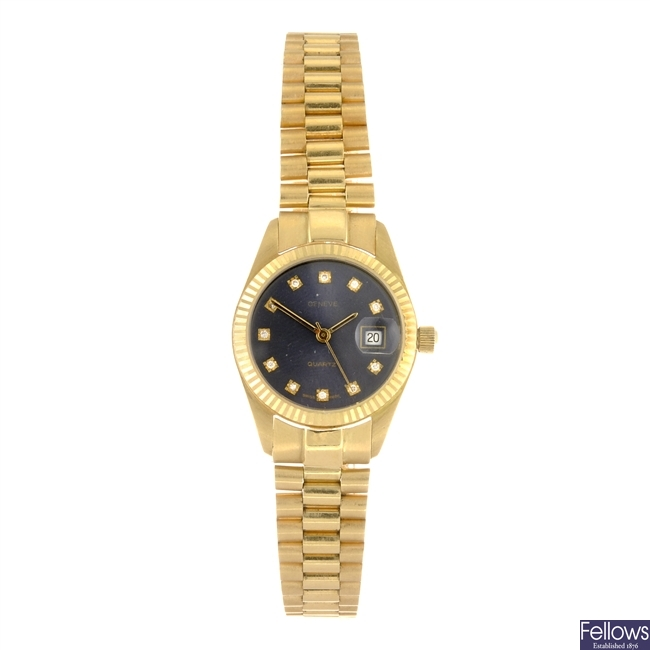 (128937400) An 18k gold quartz lady's Geneve bracelet watch.