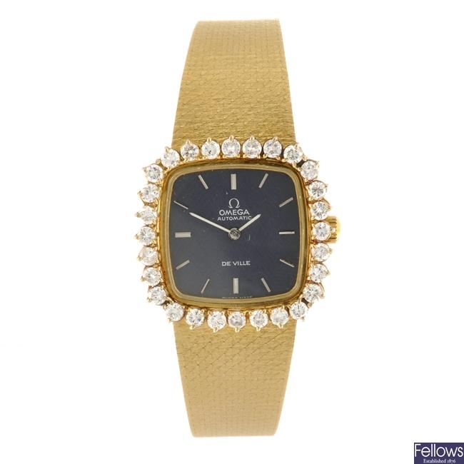 An 18k gold automatic lady's Omega De Ville bracelet watch.