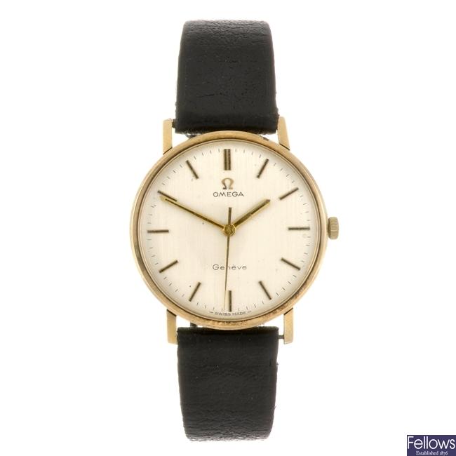 (304294161) A 9ct gold manual wind gentleman's Omega wrist watch.