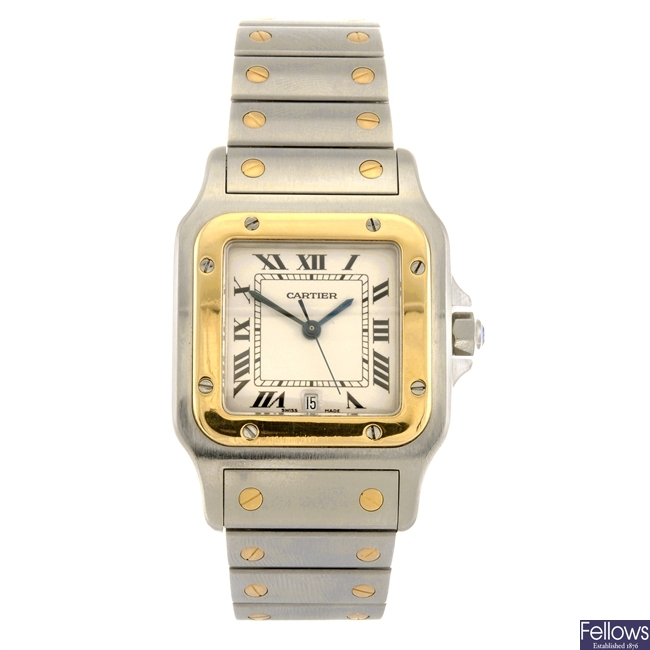 (304294365) A bi-metal quartz Cartier Santos bracelet watch.