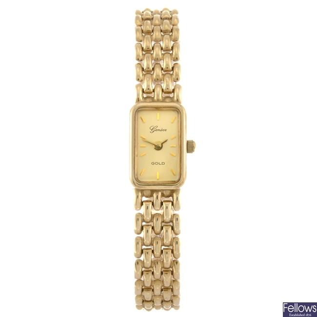 (304294604) A 9ct gold quartz lady's Geneve bracelet watch.