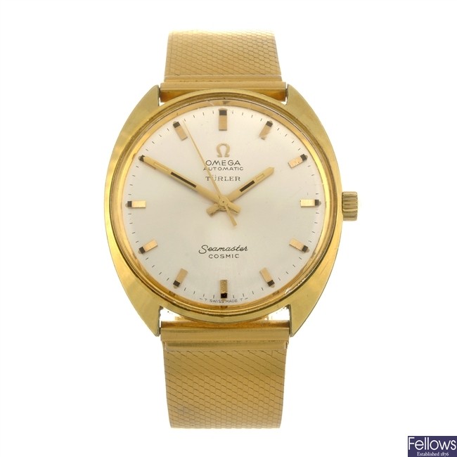(82166) A gold plated automatic gentleman's Omega Seamaster Cosmic bracelet watch.