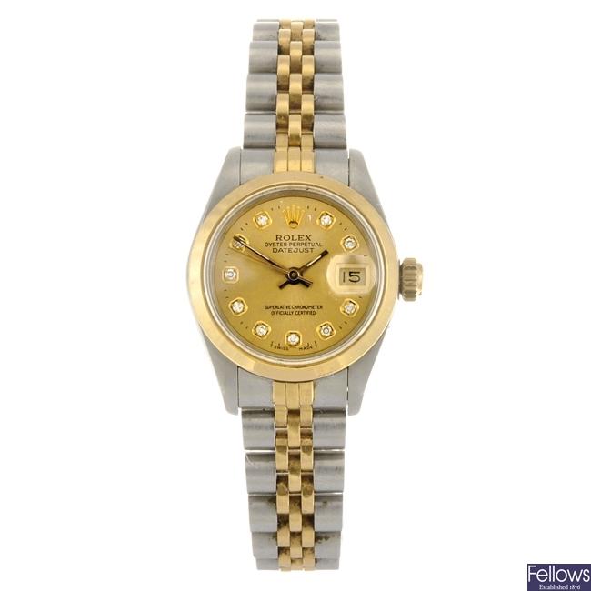 (83049) A bi-metal automatic lady's Rolex Datejust bracelet watch.