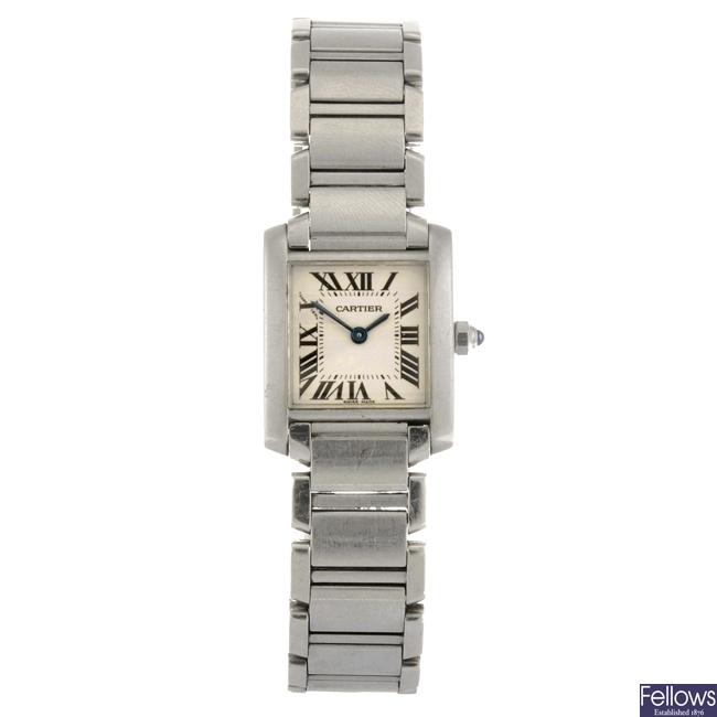(94703) A stainless steel quartz Cartier Tank Francaise bracelet watch.