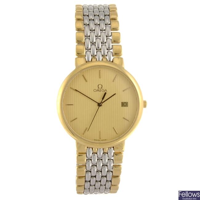 (94703) A bi-colour quartz gentleman's Omega De Ville bracelet watch.