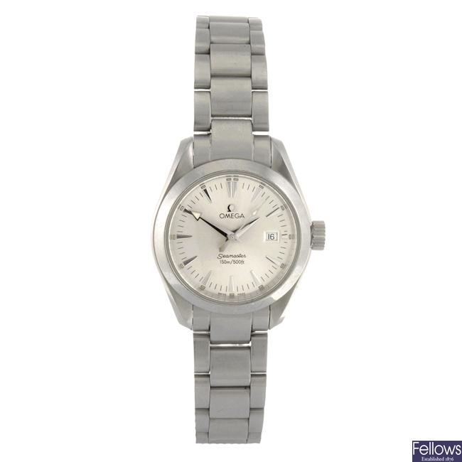 (110549) A stainless steel quartz lady's Omega Aqua Terra bracelet watch.