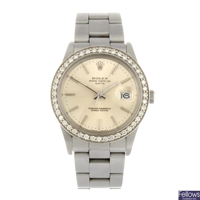 (110645) A stainless steel automatic gentleman's Rolex Date bracelet watch.
