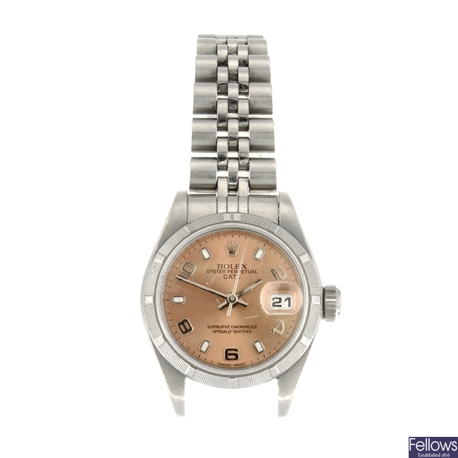 (000892) A stainless steel automatic lady's Rolex Date bracelet watch.