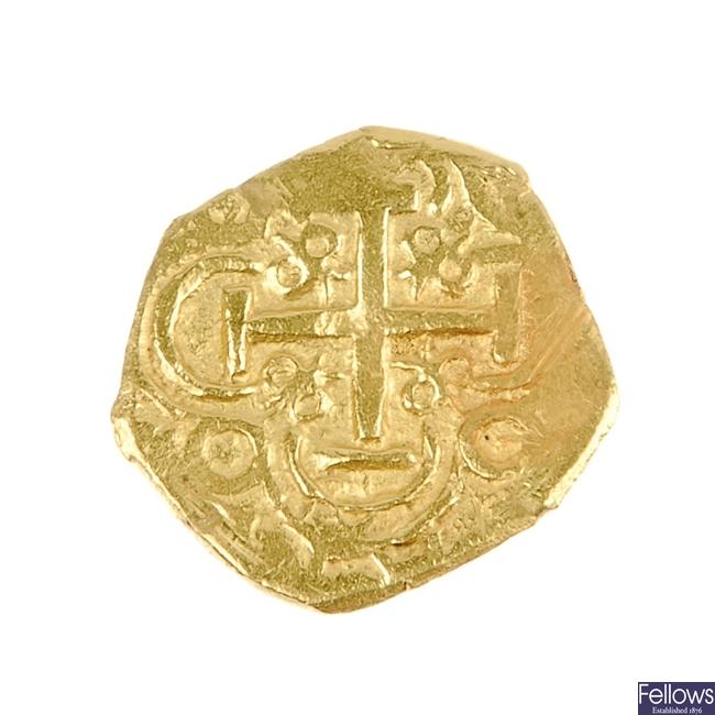 Spain, gold cob 2-Escudos.