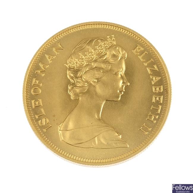 Isle of Man, Elizabeth II, gold 5-Pounds 1973.