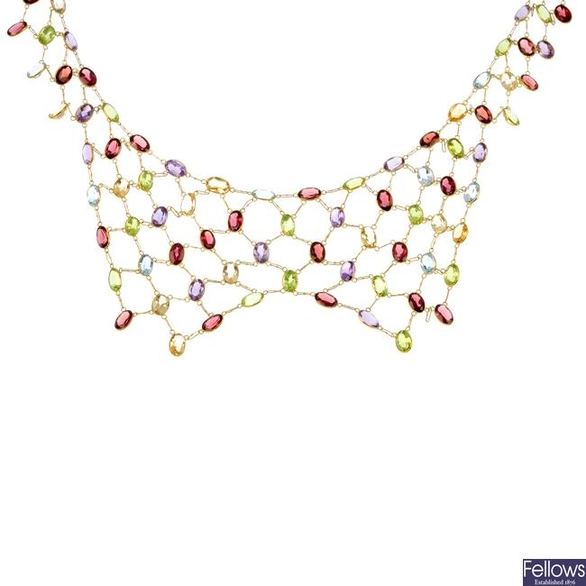 A multi-gem fringe necklace.