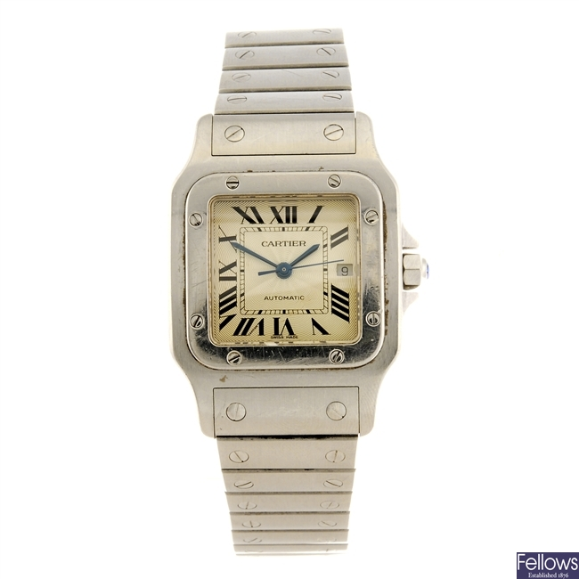 (814031730) A stainless steel automatic Cartier Santos bracelet watch.