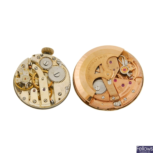 A selection of watch movement and parts.