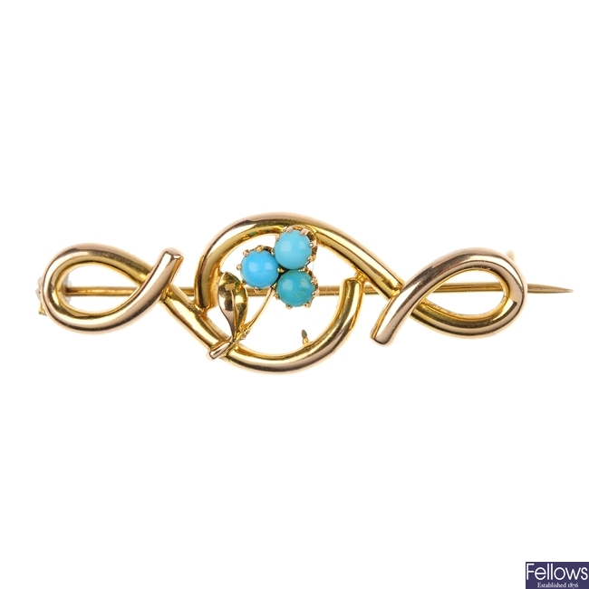 An early 20th century 9ct gold turquoise bar brooch.