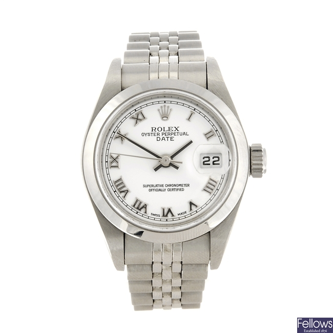 (957000625) A stainless steel automatic lady's Rolex Date bracelet watch.