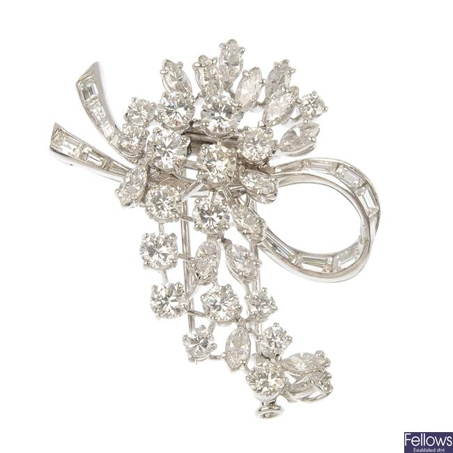 A mid 20th century diamond foliate brooch.