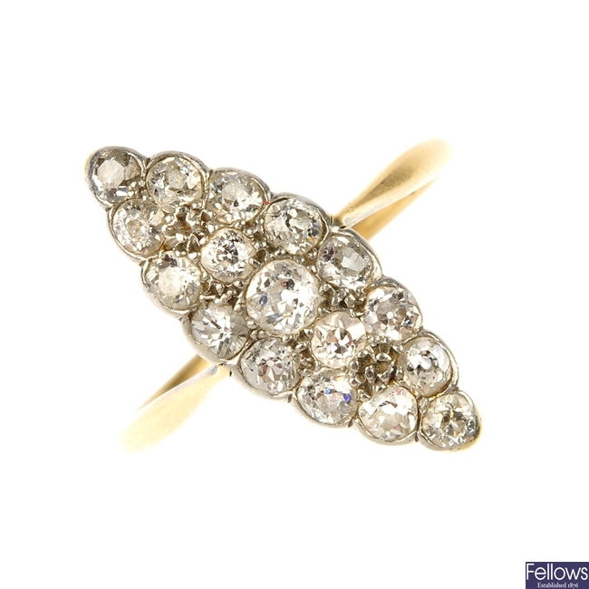 An early 20th century 18ct gold and platinum diamond cluster ring.