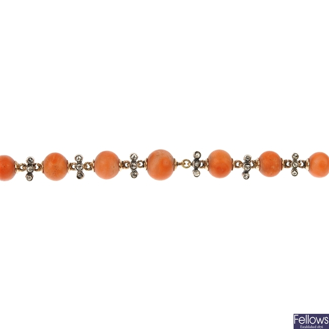A late 19th century 9ct gold and silver coral and diamond bracelet.