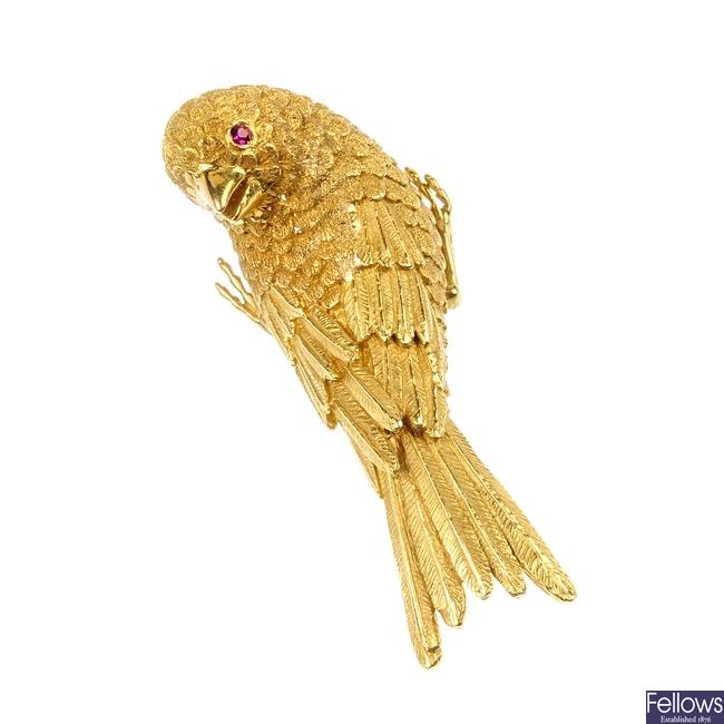 A mid 20th century ruby chaffinch brooch.