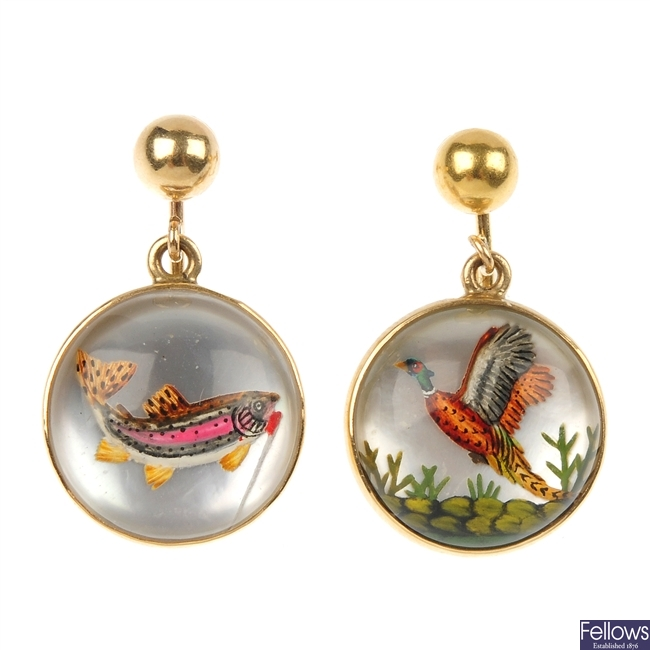 A pair of mid 20th century reverse carved intaglio ear pendants.