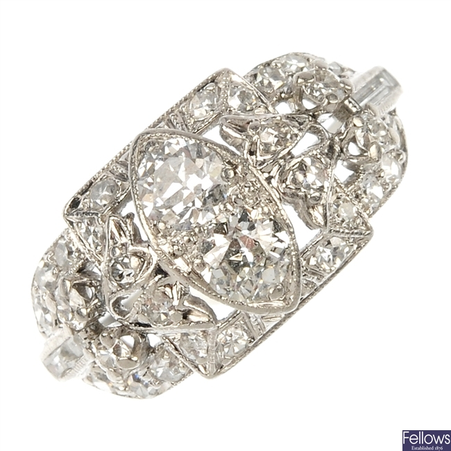 A mid 20th century platinum diamond dress ring.