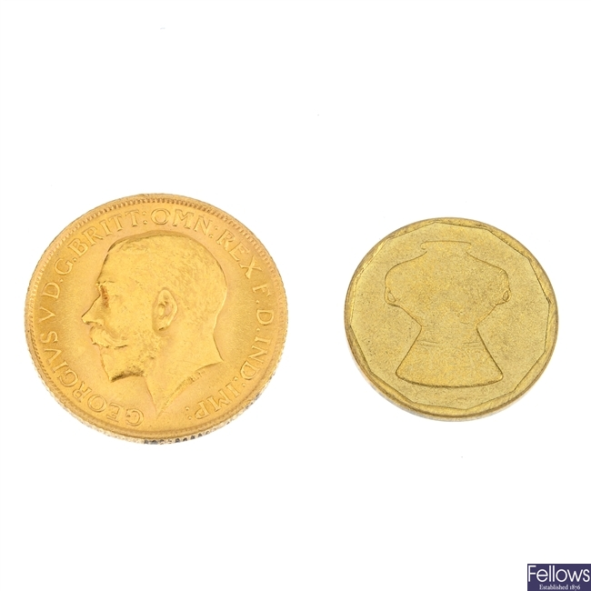 George V, Sovereign 1915 and Arabic coin.