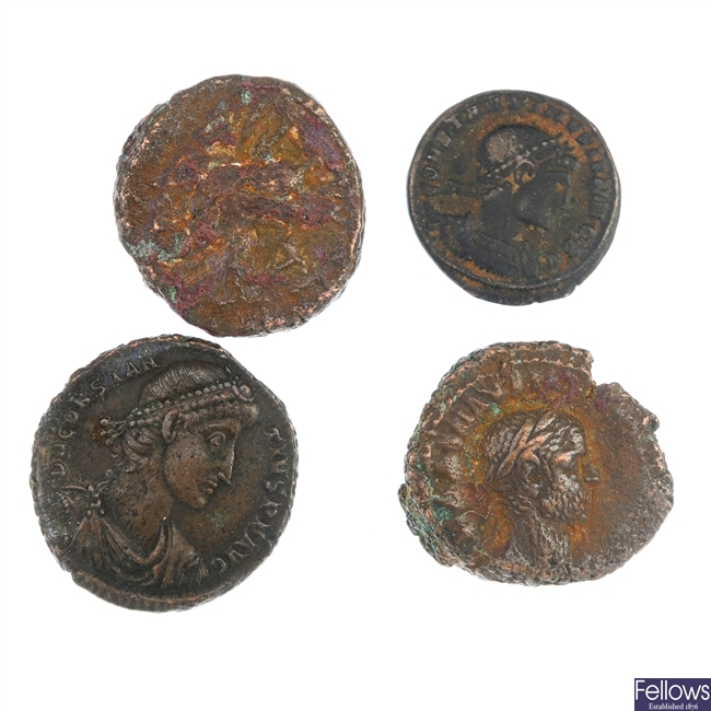 Roman Empire, late third and early fourth century bronze coins, etc.